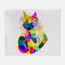 Abstract Cat Throw Blanket
