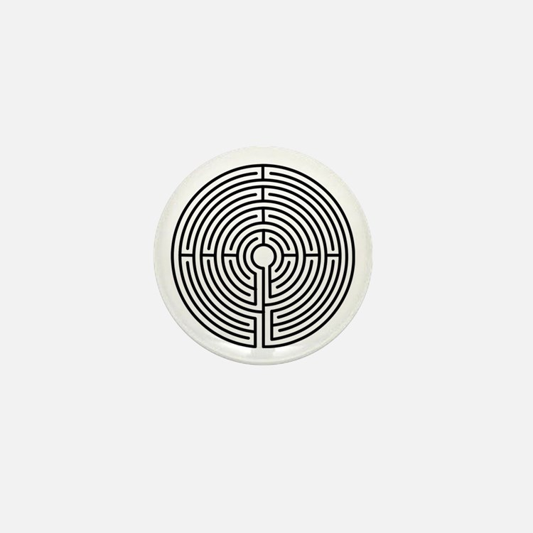 Medieval Labyrinth Symbol Mini Button