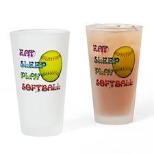 Eat Sleep Play Softball 3 Pint Glass