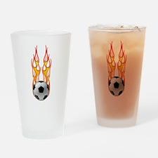 Soccer fire Pint Glass