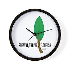 Survive, Thrive, and Flourish Wall Clock