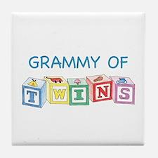Grammy of Twins Tile Coaster