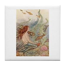 mermaid lass Tile Coaster