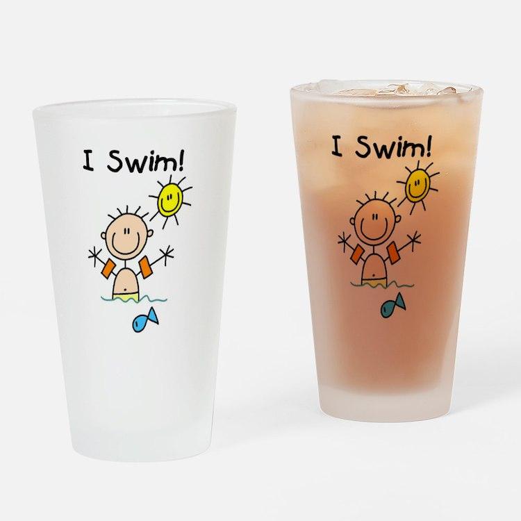 Boy I Swim Pint Glass