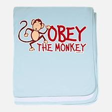 Obey The Monkey baby blanket