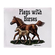 Plays with Horses Throw Blanket