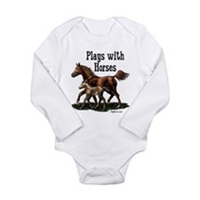 Plays with Horses Long Sleeve Infant Bodysuit