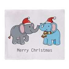 Elephant Christmas Throw Blanket