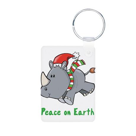 Peace Rhino Aluminum Photo Keychain