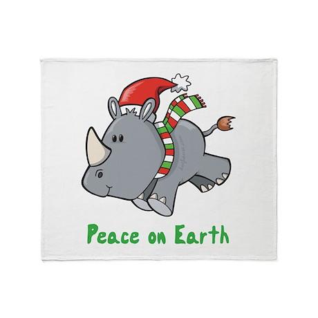 Peace Rhino Throw Blanket