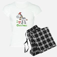 I Love Christmas Zebra Pajamas