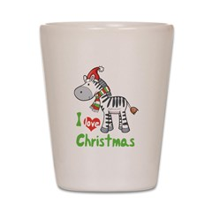 I Love Christmas Zebra Shot Glass