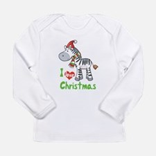 I Love Christmas Zebra Long Sleeve Infant T-Shirt