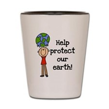 Boy Protect Our Earth Shot Glass
