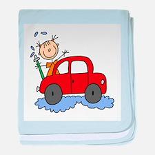 Stick Girl Washing Car baby blanket