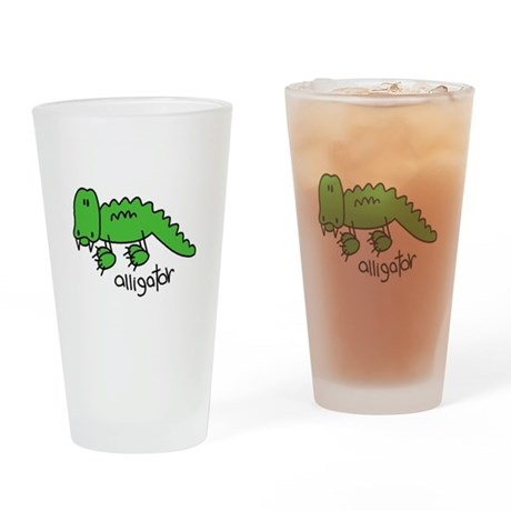 Stick Figure Alligator Pint Glass