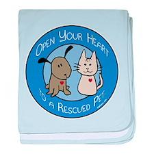 Open Your Heart - Rescued Pet baby blanket