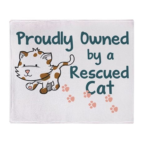 Proudly Owned (Cat) Throw Blanket