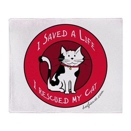 I Rescued My Cat Throw Blanket
