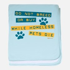 Do Not Breed or Buy Labels baby blanket