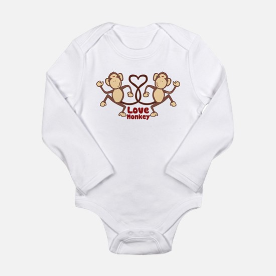Monkey Tails Heart Long Sleeve Infant Bodysuit