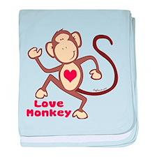 Love Monkey Heart baby blanket