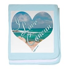 I Love Cancun Heart baby blanket