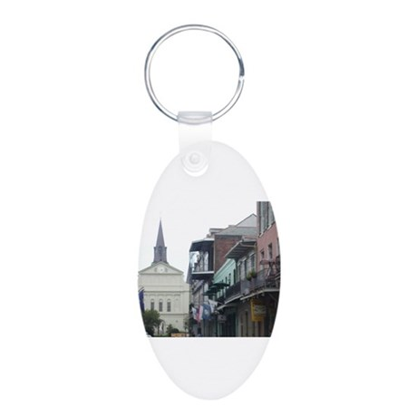 New Orleans French Quarter Aluminum Oval Keychain