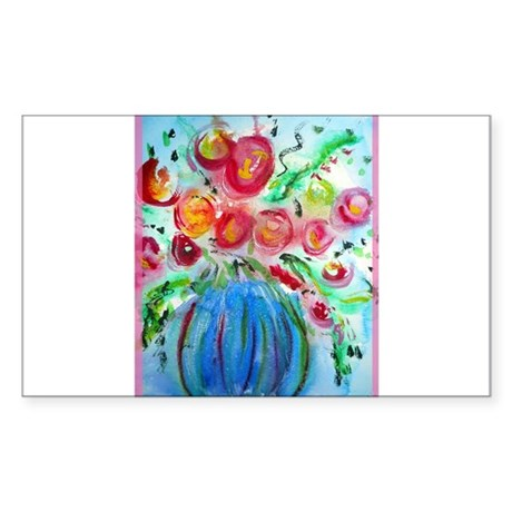 Colorful floral art Sticker (Rectangle)