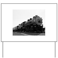 Black and White Steam Engine Yard Sign