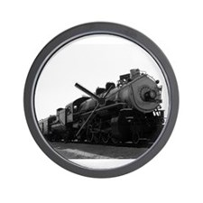 Black and White Steam Engine Wall Clock