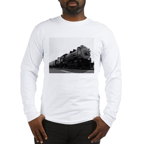 Black and White Steam Engine Long Sleeve T-Shirt