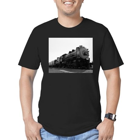 Black and White Steam Engine Men's Fitted T-Shirt