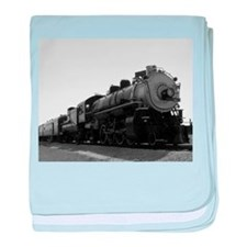 Black and White Steam Engine baby blanket