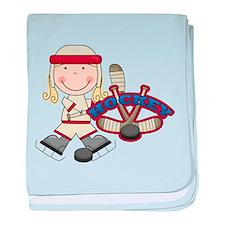 Blond Girl Hockey Player baby blanket