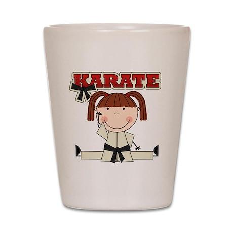 Brunette Girl Karate Kid Shot Glass