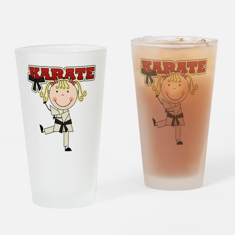 Blond Girl Karate Kid Pint Glass