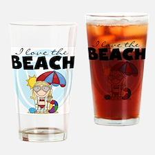 Blond Girl Love the Beach Pint Glass