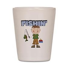 Stick Figure Boy Fishin' Shot Glass