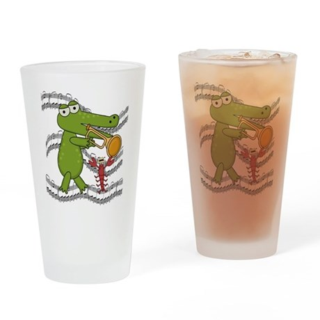 Crocodile With Trumpet Pint Glass
