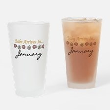 Baby Arrives in January Pint Glass