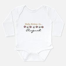 Baby Arrives in August Long Sleeve Infant Bodysuit