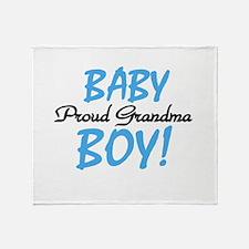 Baby Boy Proud Grandma Throw Blanket