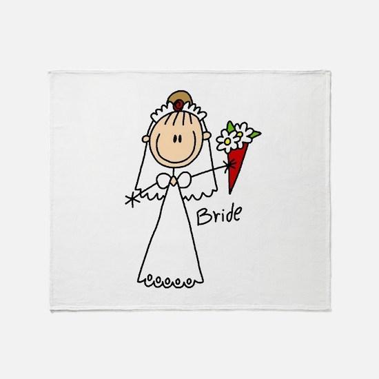 Stick Figure Bride Throw Blanket