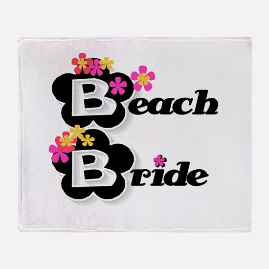 Black & White Beach Bride Throw Blanket