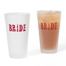 Bride Red Text Pint Glass