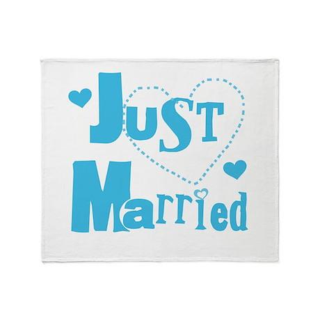 Just Married Blue Throw Blanket