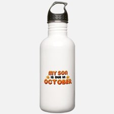 My Son is Due in October Water Bottle