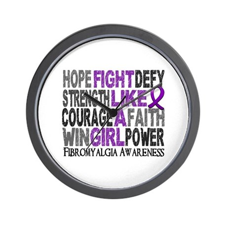 Licensed Fight Like A Girl 23.3 Fibromy Wall Clock
