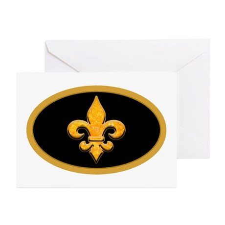 Faux Stone Fleur de lis Greeting Cards (Package of